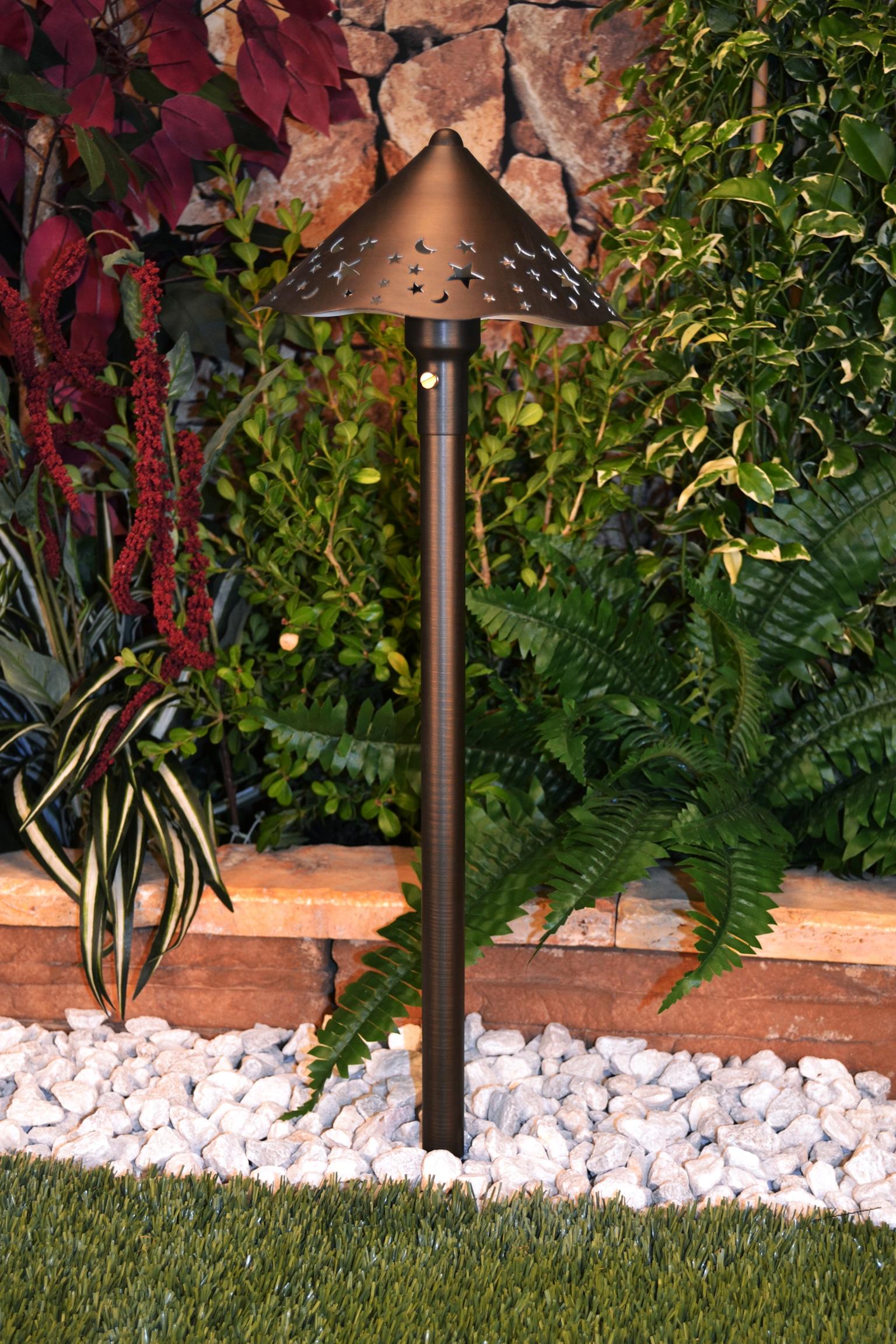 Unique lighting systems constellation 12 volt brass path for Volt electric landscape lighting