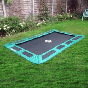 Small rectangular in ground trampoline