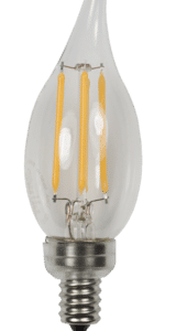 candelabra edge filament with flame tip