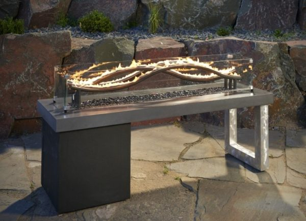 wave fire pit table